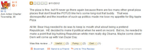 Awesome things happening over on the Obama-hugging pizza guy's Yelp page.
