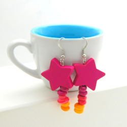 Shooting Star Earrings - Pink Star with Warm Tone Shell Beads