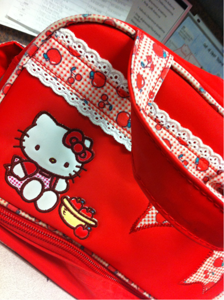 My hello kitty lunch box!  Today for breakfast, I didn't eat until 9:30. I had a peach! It was so yummy, I wish I had another one to eat. For lunch, I packed some of the maple chili chicken pasta I made out of all items in my pantry! This month I've only spent 21 dollars on food, and we're 1/3 the way done with September! Usually I would be about 100 dollars spent this far into the month. I can't wait to continue budgeting and saving the little money I do have!  I weighed in this morning at 186.8 so at least the pound or two I gained over the weekend came off! I'm not going to weigh myself until Saturday.  I'm curious to see what I was able to do this week! Next week, on Wednesday, is my first progress picture… Nervous about it, but I have to do it to stay motivated. My goal is to be 180 by then. Taking one day at a time. Thanks for your support :)