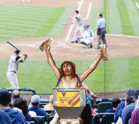 Jesus Selling Hot Dogs At The Ballpark
