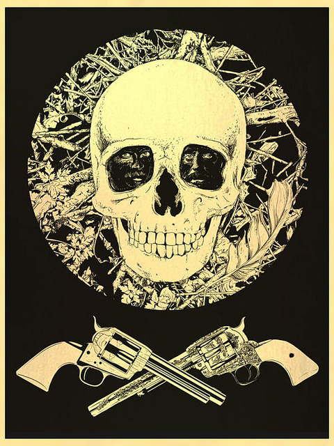 Deadwood Screen printed on metallic gold paper and avialable at thebottleneckgallery.com/store/products/raid71-fresh-scalp/