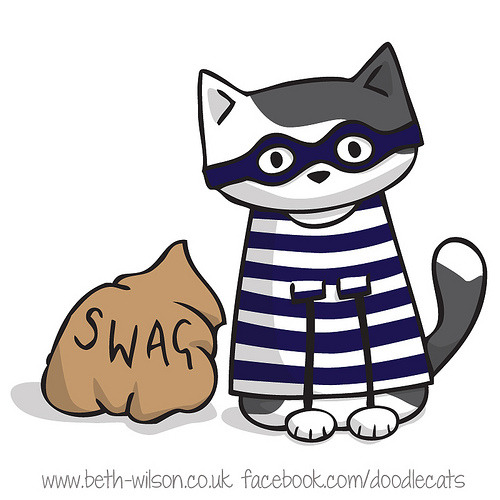 Cat Burglar! (read the full post here) Illustration by ©Beth Wilson - Home of Doodlecats