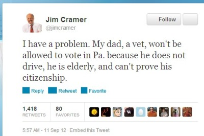 "inothernews:  Maybe Jim Cramer can BOOYAH!!! the non-issue of alleged voter fraud into some folks' heads.  My advice to Cramer Sr.: Show up to his polling place with his dog tags. When they ask for his ID, have him hang them in front of the pollster's face and ask, ""Is this government issued ID still valid?"""