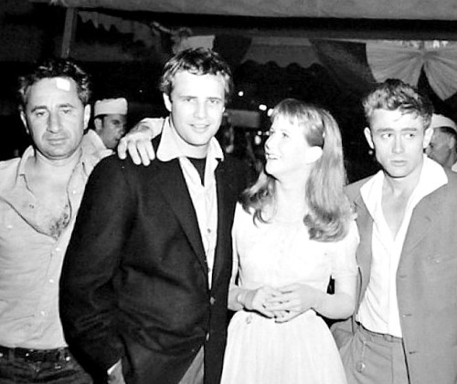 Eliza Kazan, Marlon Brando, Julie Harris and James Dean