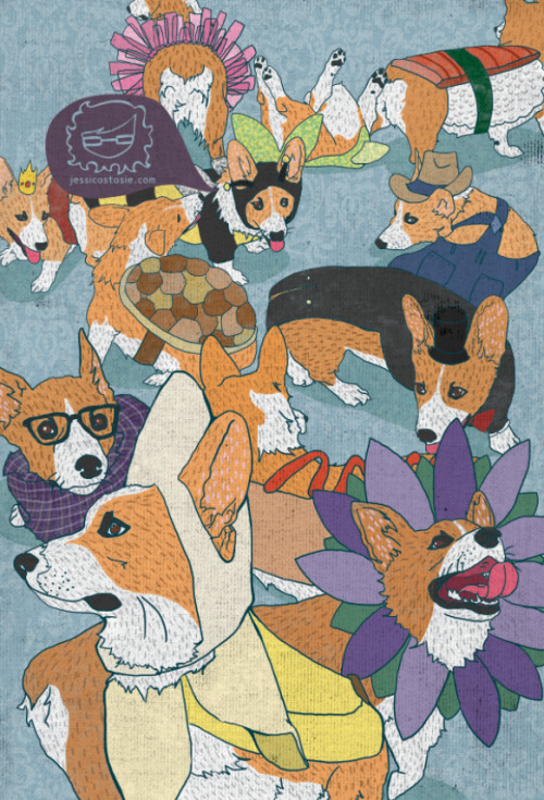 corgiaddict:  Here is number 3/20 for my corgi-tastic gallery show! For more corgis you should go like my facebook page… https://www.facebook.com/jessicaillustrates