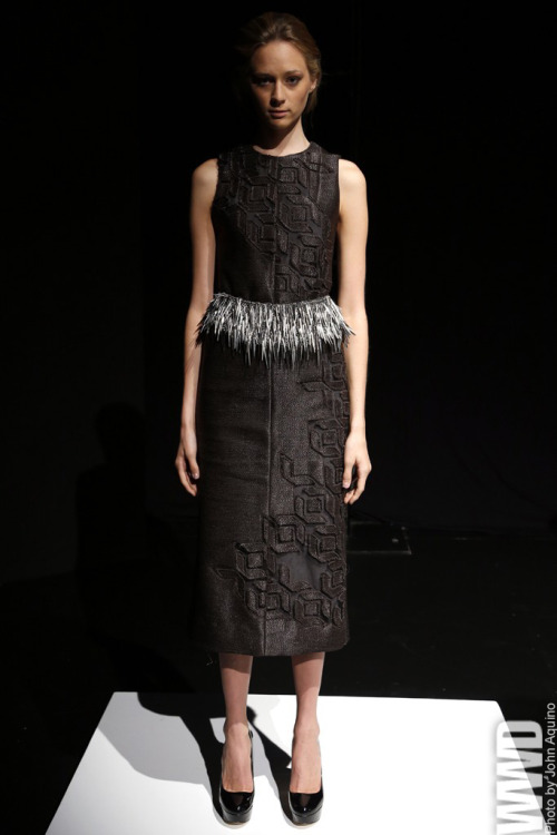 Brandon Sun RTW Spring 2013 What's a fur designer to do come spring? The designer answered via devoré accents on scarves, tunic-style vest tops and even details on a loose cardigan.  For More See all of WWD.com's RTW Spring 2013 Runway Coverage