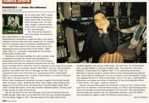 "Review of Morrissey's ""Under the influence"" compilation, by Simon Goddard for Record Collector."