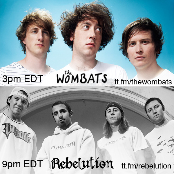#RoomSpotlight #1: http://turntable.fm/thewombats ( 3pm EDT) #RoomSpotlight #2: http://turntable.fm/rebelution ( 9pm EDT) We've got a double dose of #TurntableTuesday for you today! Join Liverpool trio The Wombatsfor a guest set at 3pm EDT / 12pm PDT… and stick around for another set with Rebelution's own Eric Rachmany and Wesley Finley at 9pm EDT!