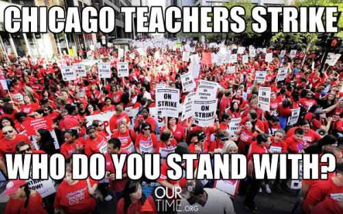 FAVORITE = I support the Chicago Public Schools Officials COMMENT = I support the Chicago Teachers Union REBLOG = I support them working out a deal and getting our kids back in school!
