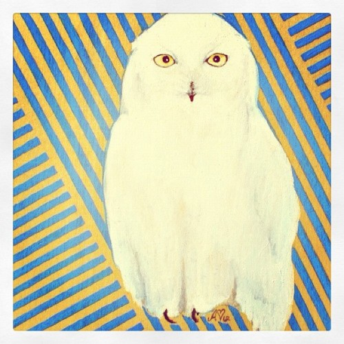Snowy owl - detail of a print by ashley spirals :) available at shanalogic.com #bird #owl #fineart (Taken with Instagram)