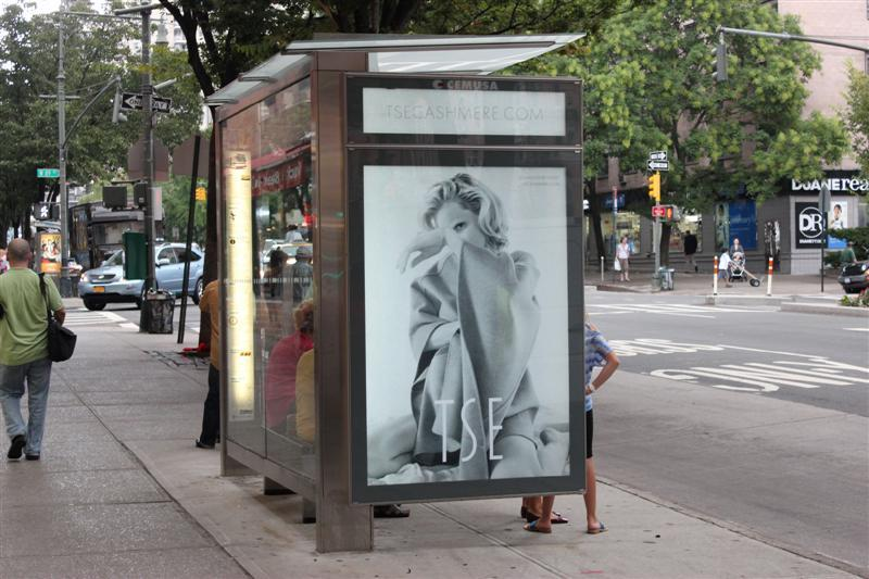 tsecashmere:  Spotted: TSE's Fall '12 ad campaign! Find these ads at bus stops around NYC, and shop for the Double Face Cashmere Cape (pictured) in the TSE Soho store. TSE Cashmere Fall 2012 Campaign Model: Guinevere van Seenus/Women Ph: Yelena Yemchuk Stylist: Sabina Schreder Makeup: Romy Soleimani Hair: Akki Shirakawa Creative Director: Alex Wiederin/Buero New York