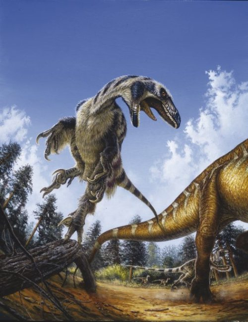 "paleoillustration:  ""Deinonychus attacking"" by Michael Skrepnick"
