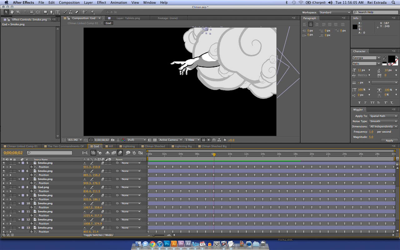 "Having too much fun animating ""God."""