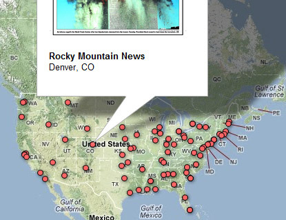 denverpost:  Interactive map: Newspaper front pages around the world on Sept. 12, 2001 A map of dozens of newspaper front pages from around the world on Sept. 12, 2001, following the now-infamous 9/11 attacks.  Cool.