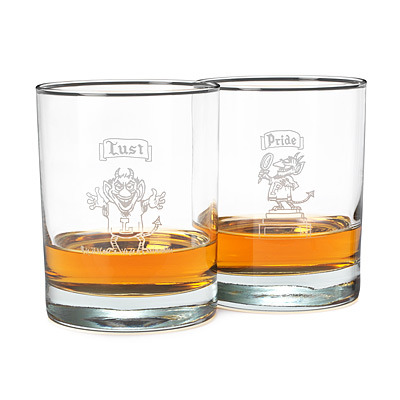 (via THE 7 DEADLY SINS GLASSES - SET OF 7 | Double Old Fashioned, Glass Barware, Fun Drinking Glasses, Comic Illustrations, Seven Deadly Sins | UncommonGoods)