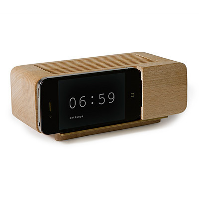 (via IPHONE ALARM DOCK | Wood Alarm Clock, Areaware | UncommonGoods)