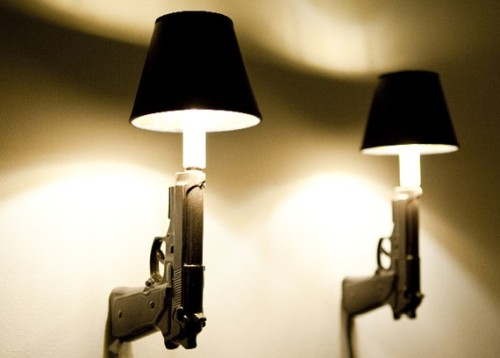 (via Killer Decor: 9mm Gun Wall Sconces | Incredible Things)