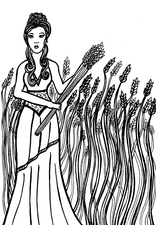 Demeter- goddess of the harvest, grains, and fertility of the earth. Part of a project I'm working on about nature deities in Greek mythology; drawings will be made into a book later, details to come. See more from the project at my facebook page. Prints of this for sale in my etsy shop.