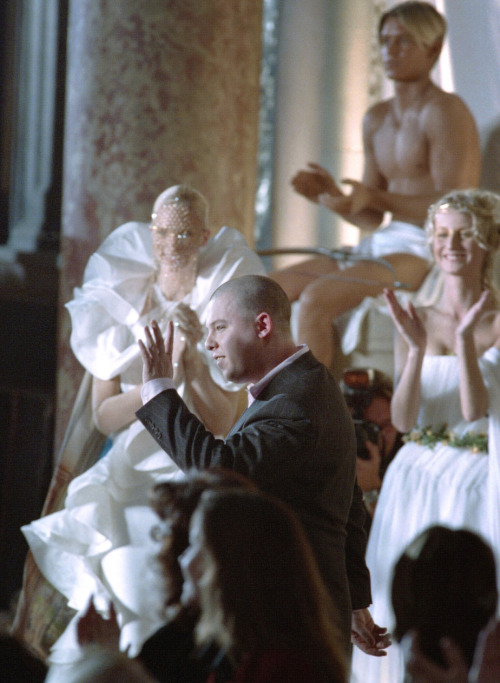 Alexander McQueen at the Givenchy Haute Couture Spring 1997 finale.