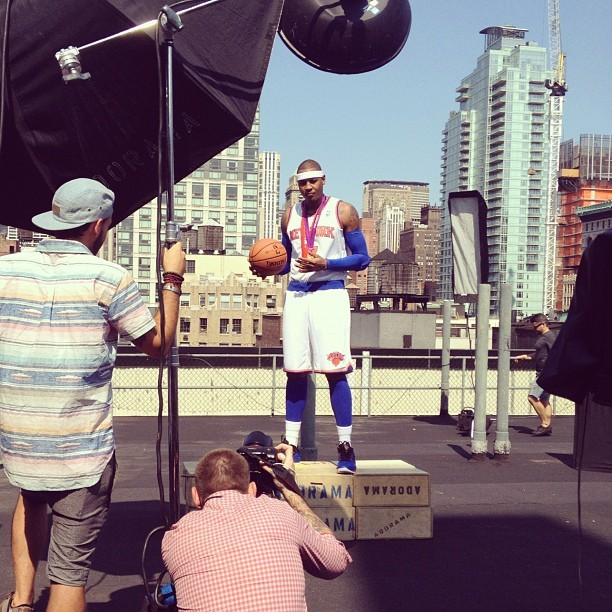 slamonline:  Behind the scenes at our @carmeloanthony covershoot at @acehotel #NoPhotoshop (Taken with Instagram)