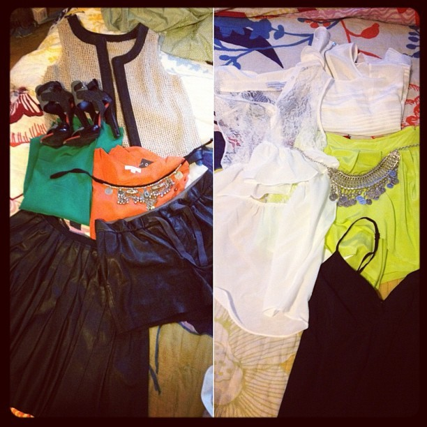 Feeling out my options for tonight… Leather & fall colors or neon? The weather is not helping (Taken with Instagram)