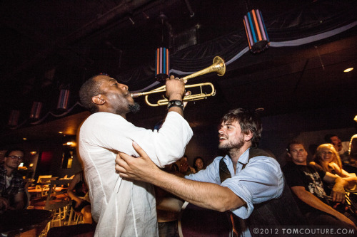 Winston Marshall of Mumford & Sons with Ephraim Owens at a Portland Gentlemen of the Road Stopover Afterparty on August 4, 2012. Posted with permission from Tom Couture Photography. Check out his Facebook Page!