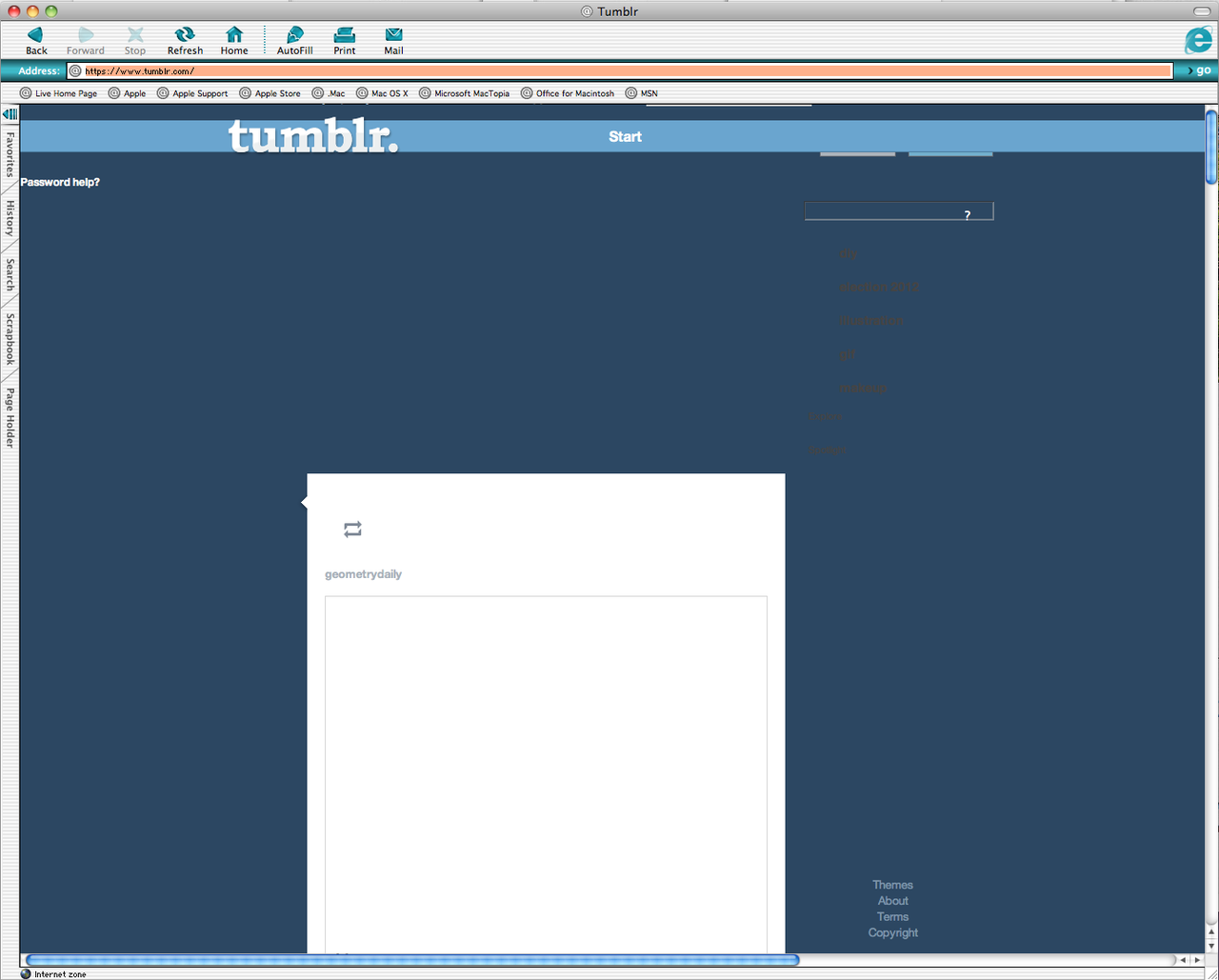 What tumblr looks like in IE 5.2!!