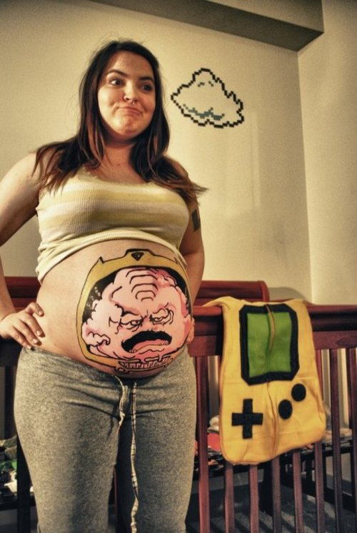 Krang Painted on Pregnant Woman I hope this kid likes '80s stuff.