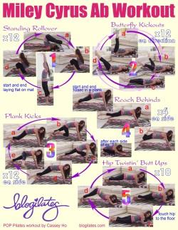 miley cyrus abs pilates blogilates ab workout