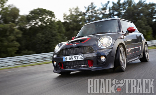 The limited edition 2013 Mini John Cooper Works GP is powered by a specially-tuned version of the 1.6-liter engine producing 218 horsepower and only 2,000 slotted for production. (Source: Road & Track)