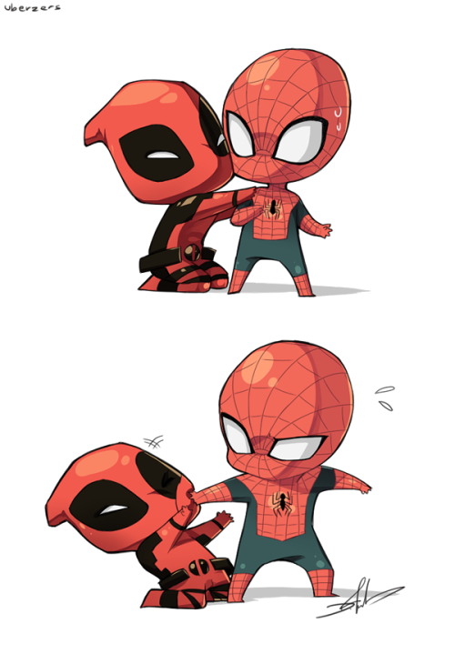 kateordie:  brain-food:  Spider-Man and Deadpool Kiddies by Uberzers.  Kiss