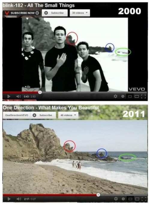 Holy Crap: One Direction's Music Video Filmed On The Same Beach As Blink-182's Boy-Band Parody (via)