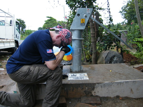 Tebowing the completion of a Well Drilling mission in Acajutl, El Salvador