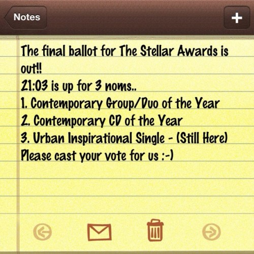 Go to thestellarawards.com We're in categories 10, 16, and 18!!! Much appreciated #2103 #EvinAmiri #FreedomMusic #Evolved  (Taken with Instagram)