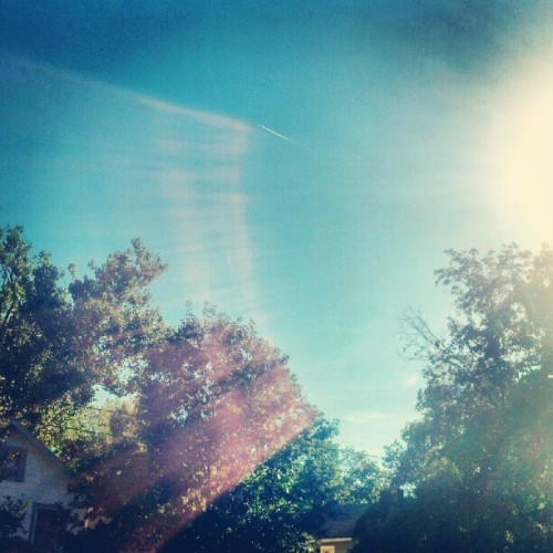 Bury me with it. #sky #september #fall #weather #pretty #blue #sun #shine #nice #nature #jetplanes #contrail #trees #green #home #clintonville #columbus #ohio #igerscolumbus #igersohio #igdaily #instagood #filter #walden#lux (Taken with Instagram)