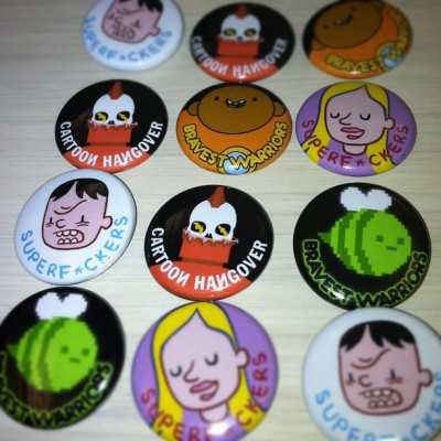 bravestwarriors:  mhamer:  New Cartoon Hangover buttons for Bravest Warriors and SuperF*ckers!  Wallow looks even sweeter on a button. Make sure you find our team at #SPX to get one of these!! -Mike   i'd love some of the cartoon hangover fred skull buttons! I designed that! :D