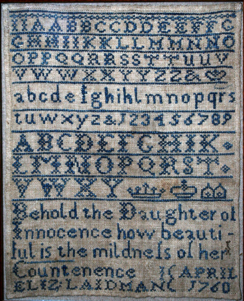 pixelsinthewild:  1760 historical cross-stitch alphabet sampler by Elizabeth Laidman
