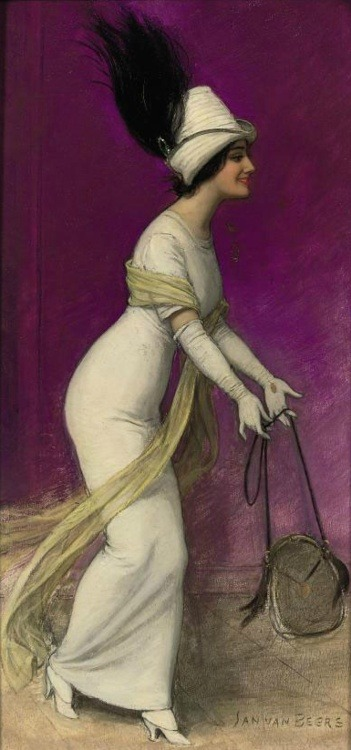 sparklesinadream:   Elegant Lady by Jan van Beers, ca 1910  Lovely picture.