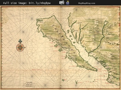 Map: Vingboons' Map of California depicted as an island (1650s) originally posted to the BIG Map Blog.