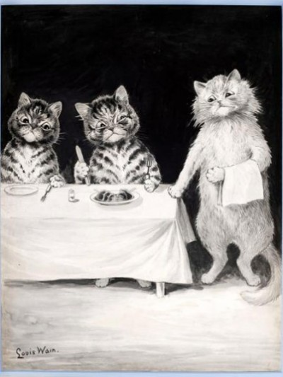The Waiter by Louis Wain. Picture: Chris Beetles Gallery (via The best of British Cat Art - Telegraph)