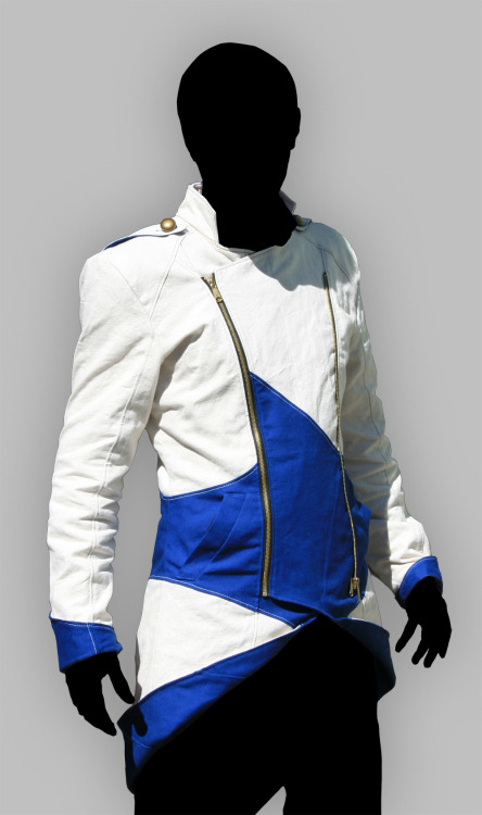 volantedesign:  Ancestors: Kenway Options Since the Kenway jacket is available with two closure options, this post is to help explain the differences. Keep in mind, I have only made the asymmetrical option, so the symmetrical images are photoshopped and approximate. In the top two images, on the left is the center fastened option, and the right in the asymmetrical option. The symmetrical option has narrower turnback panels and falls a little further apart, because the panel is turned away from the center, where the asymmetrical option has wider panels which when turned back fall closer to the center. The middle image shows how the asymmetrical version looks when half-closed, exposing the blue 'lapels', which is a feature I personally like. The bottom two images are laid out the same way as the top two, with the symmetrical version on the left. The left one zippers down the center of the wearer's chest, where the asymmetrical version closes more like a fencing jacket. On the actual version of the symmetrical style, the left most zipper would not be complete when the jacket is closed, but would instead be half of a zipper, as would the right most zipper, where the center zipper would be both sides of a zipper fastened together. I hope this helps to clarify, if there are further questions, feel free to ask in email. Kenway Jacket - $320 USD Email info@volantedesign.us to receive an order form.