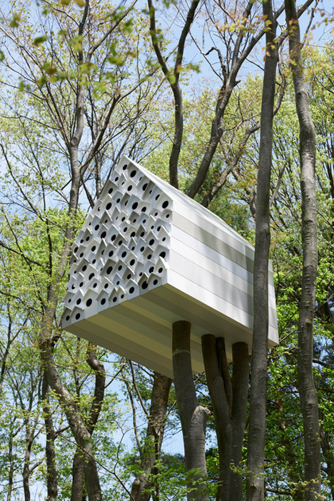 "Nendo has designed a tree house ""bird-apartment"", collective housing for many birds and one person. (MocoLoco)"