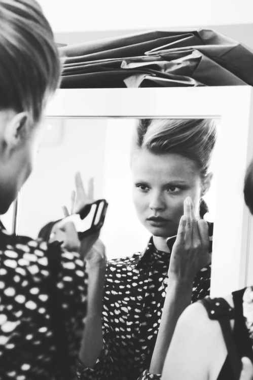 vogueweekend:  Magdalena Frackowiak photographed by Natasha Jahangir backstage at Oscar de la Renta Spring 2013, New York