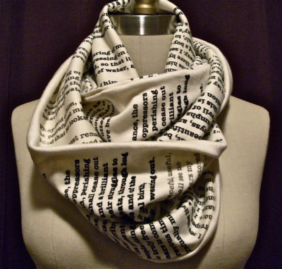 bluelikemorning:  gdfalksen:  Book scarf.  Have any page from your favorite book or poem printed on a scarf here  wait seriously oh my god
