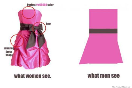 memehunter:  Dresses: What Women See Vs What Men See http://memehunter.tumblr.com