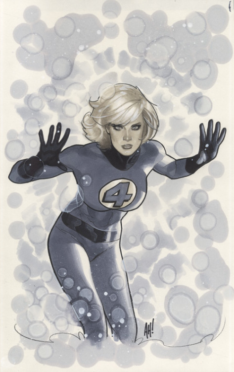 brianmichaelbendis:  The fantastic 4's invisible woman by Adam Hughes  I have a not so secret 'man-crush' on Adam Hughes for being such a talented creator. #Enjoy
