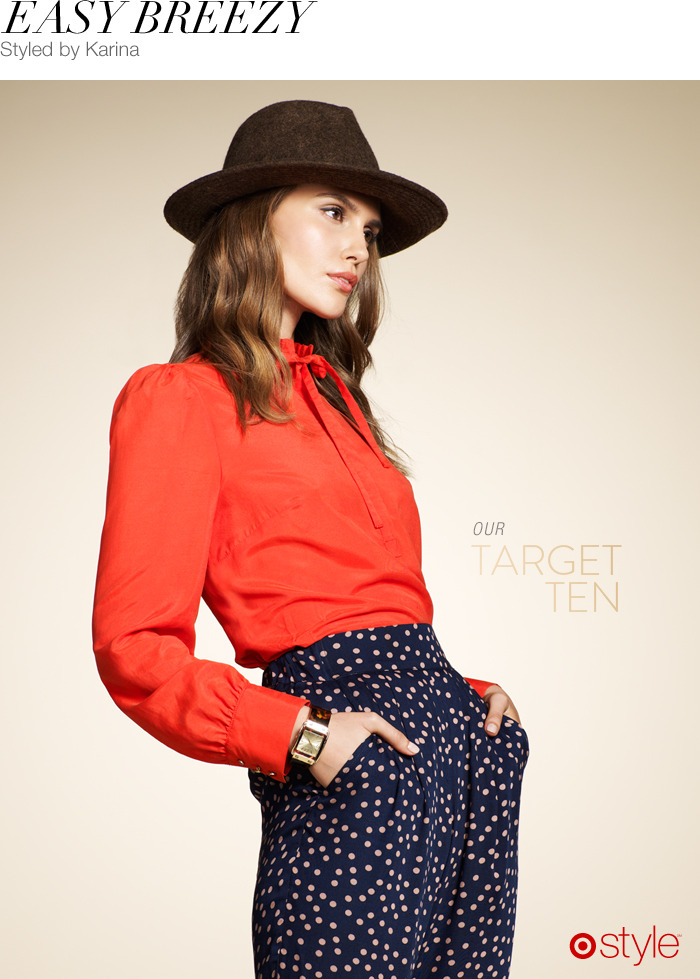 "Easy Breezy by Karina ""I love polka dots! And the pants are so versatile you can wear them high waisted or lower if you need."" -KG own it now: hat. orange bow blouse. polka dot pants. tortoise shell watch."