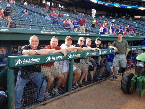 Members of the Wounded Warrior Project hung out in the dugout before being recognized on field before tonight's game. Thank you to all of our military men and women for their service and sacrifice.