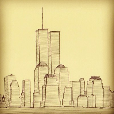 Never Forget. #911 #sketch #doodle #moleskine #pen #ny (Taken with Instagram)