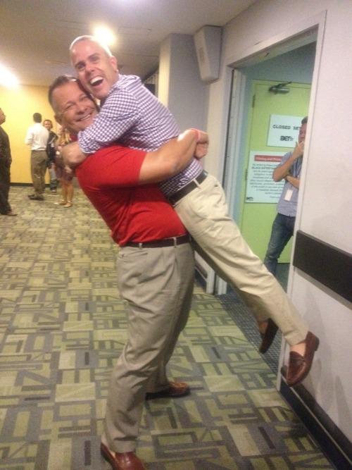 After today's taping, Executive Producer Terence got a hug from Scott, the Florida man who unexpectedly gave President Obama a giant bear hug.